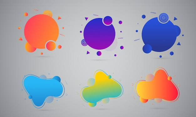 Colorful liquid or fluid art abstracts on gray background.