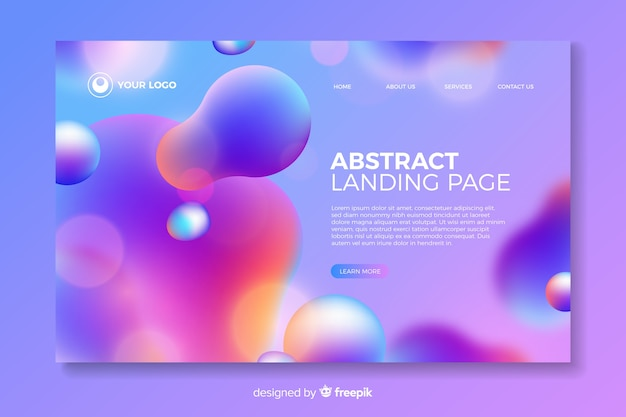 Colorful liquid landing page