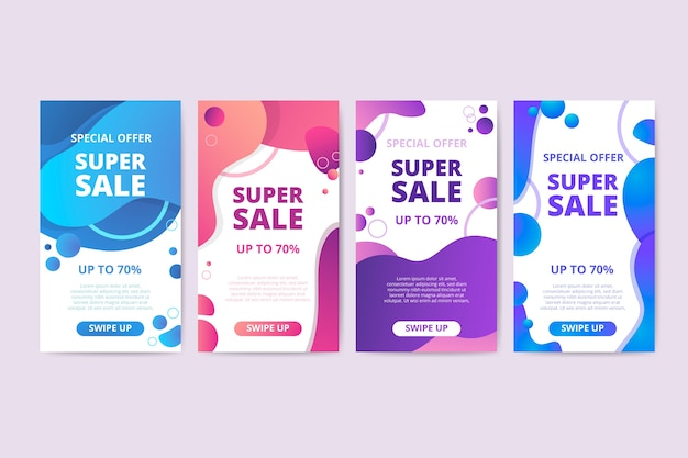 Colorful liquid sales banner collection