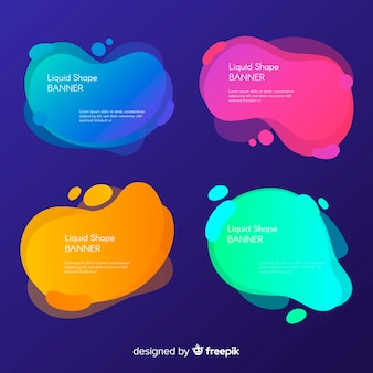 Colorful liquid shapes banner template