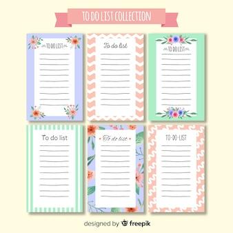 Collezione colorata per elencare con design piatto