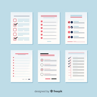 Colorful to do list collection with flat design