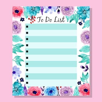 Colorful to do list with watercolor flower