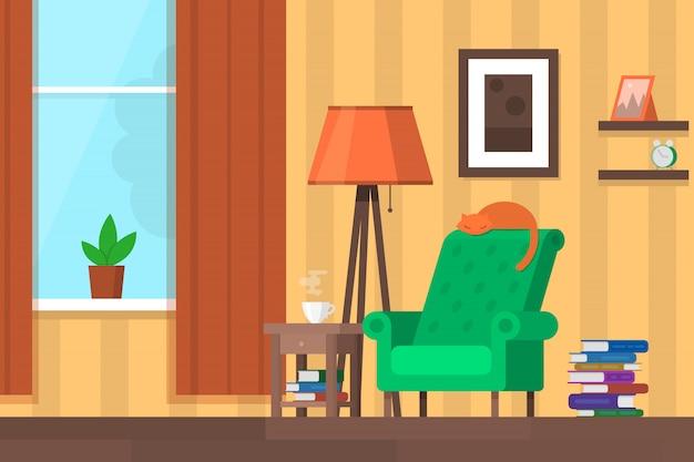 가구와 화려한 거실입니다. 배경, 포스터, 배너 플랫 스타일 일러스트 템플릿.