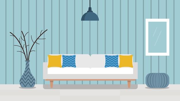 Красочная гостиная с мебелью. шаблон для фона, плакат, баннер stock иллюстрации. плоский стиль