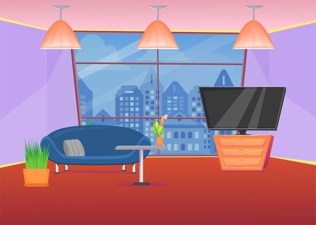 ソファと街の景色を望む窓のあるカラフルなリビングルーム。漫画イラスト
