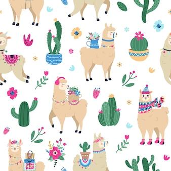 Colorful llamas background