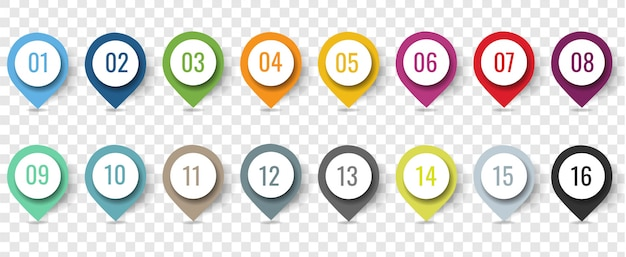 Colorful location pin set isolated transparent background