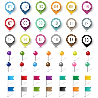 Colorful location pin set isolated