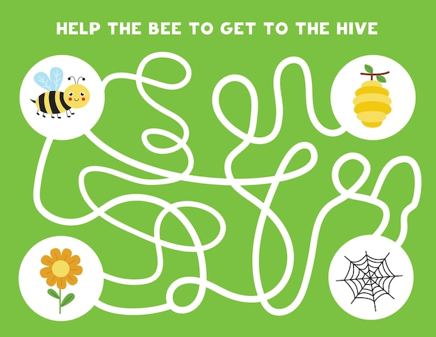 Colorful logical maze with cute bee. logical game for kids.