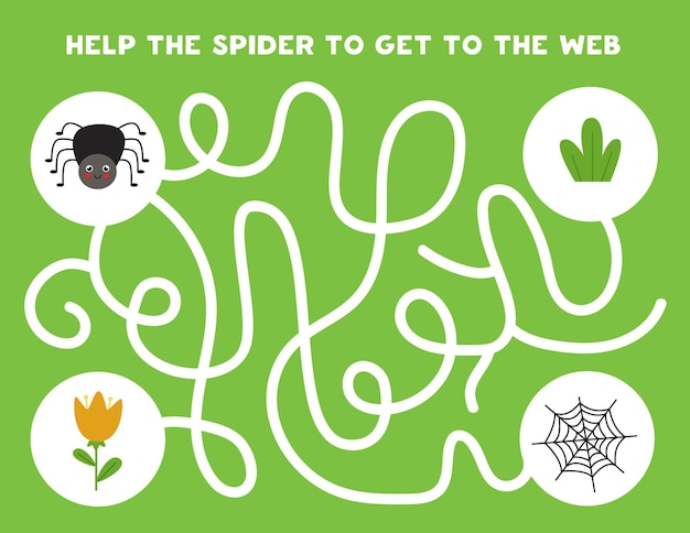 Colorful logical maze with cute spider. logical game for kids. Premium Vector
