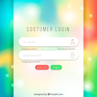 Colorful login form template