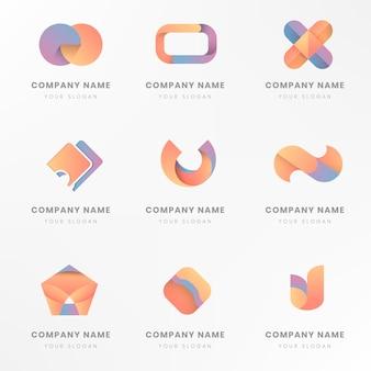 カラフルなロゴのブランドデザインセット 無料ベクター