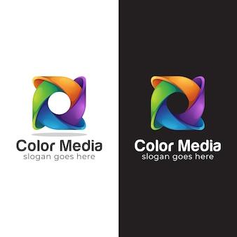 Colorful logo design of abstract circle symbol, letter o logo