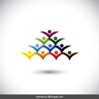 三角形の形でカラフルなロゴ