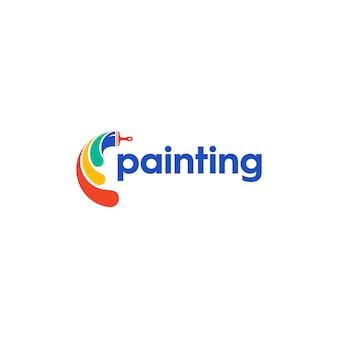 로고를위한 다채로운 로고 페인트 붓