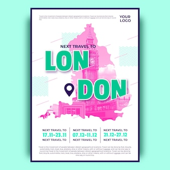 Colorful london travel poster
