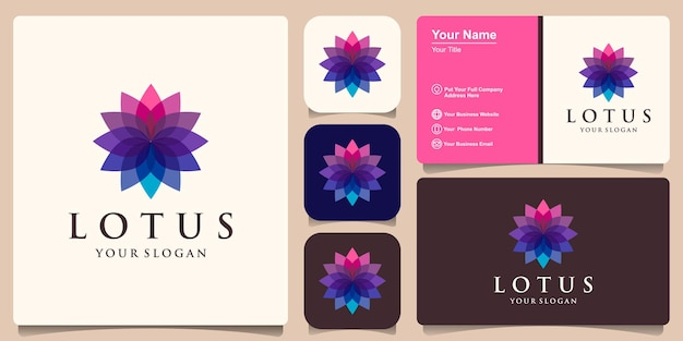 Colorful lotus flower logo design inspiration and business card