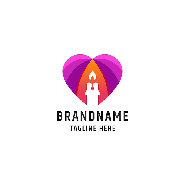 Красочная любовная свеча логотип значок дизайн шаблона