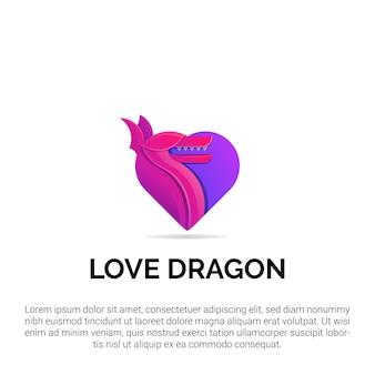 Красочный дизайн логотипа любви дракона с современной концепцией стиля иллюстрации для значков, эмблем и значков