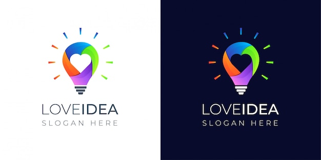 Colorful love idea with lamp logo design