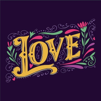 Colorful love lettering in vintage style