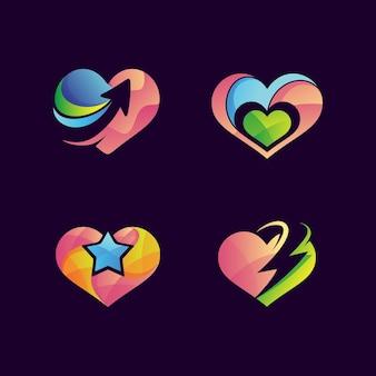 Colorful love logo set