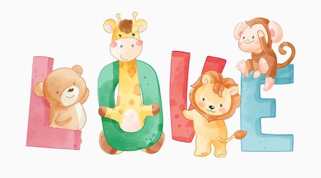 Colorful love slogan with cute cartoon animals illustration