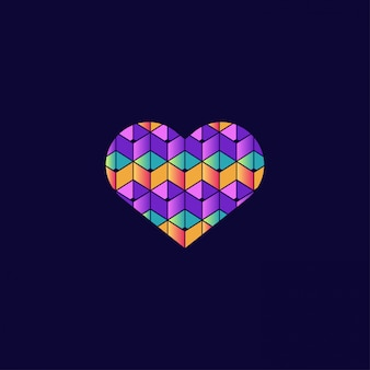 Colorful love symbol with 3d style