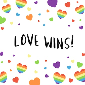 Colorful love wins typography background vector