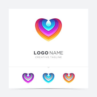 Colorful love with water drop logo