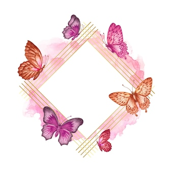 カラフルな愛らしい水彩蝶のフレーム