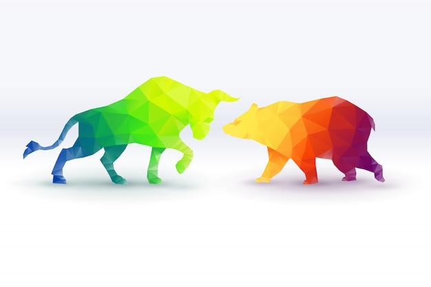 Colorful of low poly bullish versus bearish