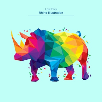 Colorful low poly rhino vector design