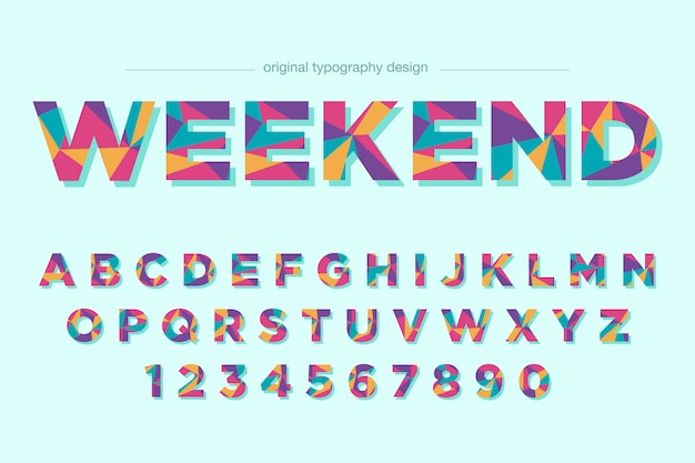 Colorful low poly typography font design