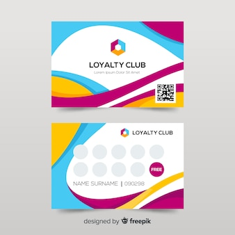 Colorful loyalty card template with abstract design