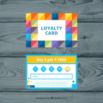 Colorful loyalty card template with flat design