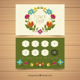Colorful loyalty card template with floral style