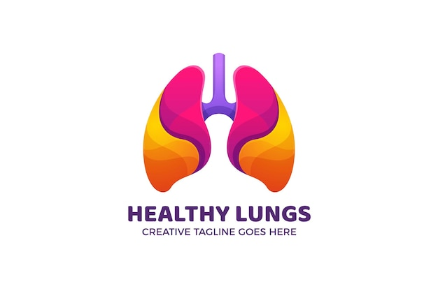 Colorful lungs organ body gradient logo template