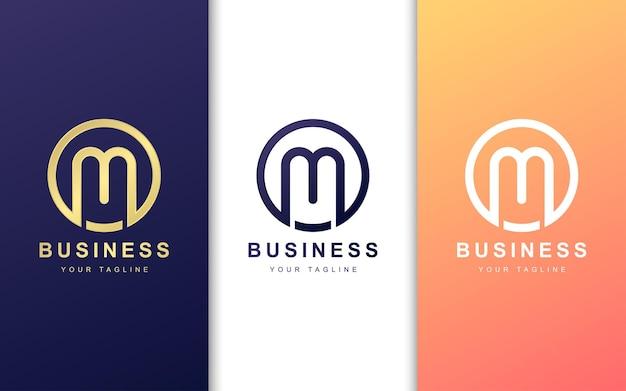 モダンなコンセプトのカラフルなm文字のロゴ