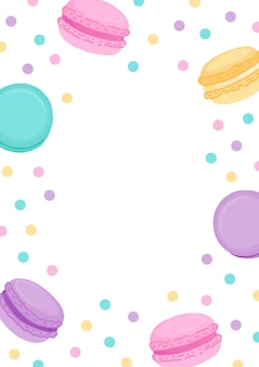 Colorful macarons and confetti frame illustration on white background