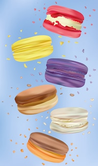 Colorful macaroon in motion isolated . different sweet french macaroons close up. falling macaroons. sweet dessert.
