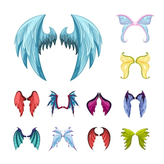 Colorful magic wings set. graceful fairy wing mythical creatures with colored feathers and scales symbols of ancient dragons and manticores mystical mirrors from parallel worlds. vector mythology.