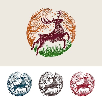 Colorful majestic luxury deer simple illustration