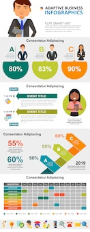 Colorful management or planning concept infographic charts set