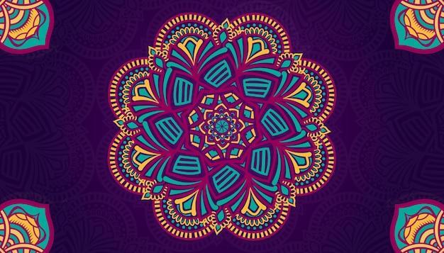 다채로운 만다라 배경 디자인 스타일 라마단 스타일 장식 만다라 인쇄용 만다라