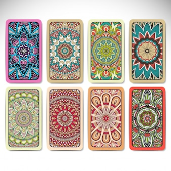 Colorful mandala card collection