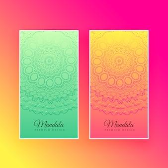 Colorful mandala design vertical cards