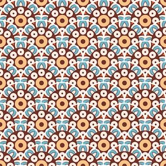 カラフルなマンダラのシームレスなパターン図