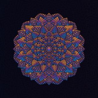 カラフルなマンダラベクトル手描きヘナ、一時的な刺青、タトゥー、装飾、織物、パターン、招待状の背景の円形の幾何学的な要素